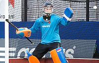 DEN BOSCH -   Keeper Daan Wesselink tijdens de wedstrijd tussen de mannen van Jong Oranje  en Jong Engeland, tijdens het Europees Kampioenschap Hockey -21. ANP KOEN SUYK