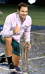 SHANGHAI, Oct. 15, 2017  Roger Federer of Switzerland poses with the trophy after winning the singles final match against Rafael Nadal of Spain at 2017 ATP Shanghai Masters tennis tournament in Shanghai, east China, on Oct. 15, 2017. (Credit Image: © Fan Jun/Xinhua via ZUMA Wire)