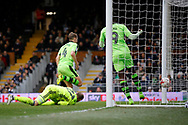 Wolverhampton Wanderers midfielder Dave Edwards (4) scores a goal (score 1-3) during the EFL Sky Bet Championship match between Fulham and Wolverhampton Wanderers at Craven Cottage, London, England on 18 March 2017. Photo by Andy Walter.