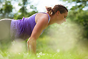 """2013 June 29 - Two of Lululemon's local ambassadors """"in their element"""" doing yoga outside."""