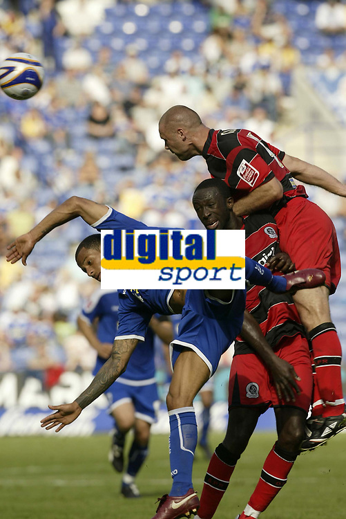 Photo: Aidan Ellis.<br /> Leicester City v Queens Park Rangers. Coca Cola Championship. 15/09/2007.<br /> Leicester's DJ Campbell loses out to QPR's Danny Cullip as Damian Stewart looks on