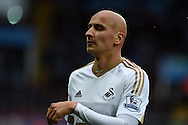 Jonjo Shelvey of Swansea city looks on. Barclays Premier league match, Aston Villa v Swansea city at Villa Park in Birmingham, the Midlands on Saturday 24th October 2015.<br /> pic by  Andrew Orchard, Andrew Orchard sports photography.