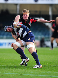 Ulster Ravens' Ali Birch challenges Bristol Rugby's Mitch Eadie - Photo mandatory by-line: Dougie Allward/JMP  - Tel: Mobile:07966 386802 21/10/2012 - SPORT - Rugby Union - British and Irish Cup -  Bristol  - The Memorial Stadium - Bristol Rugby V Ulster Ravens