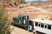 Old steam train used for tourist trips through the Rio Tinto mining area, Huelva province, Spain