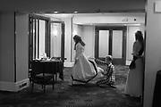 HELEN STEWART HAVING EMERGENCY DRESS REPAIR FROM EMILY ROSE WETHERELL, CASSANDRA KRIENER-MILBRANDT WATCHING,  BY  The Royal Caledonian Ball 2017, Grosvenor House, 29 April 2017