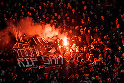 Utrecht support during the semi final KNVB Cup between FC Utrecht and Ajax Amsterdam at Stadion Nieuw Galgenwaard on March 04, 2020 in Amsterdam, Netherlands