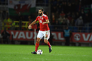 Joe Ledley of Wales in action.Vauxhall International football friendly, Wales v The Netherlands at the Cardiff city stadium in Cardiff, South Wales on Friday 13th November 2015. pic by Andrew Orchard, Andrew Orchard sports photography.