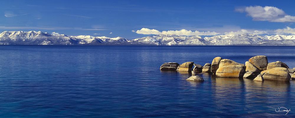 Lake Tahoe Scenic Winter Morning Panorama Lake Tahoe