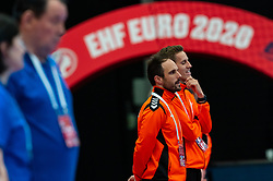 (L-R) Coach Emmanuel Mayonnade, Ass. Coach Ricardo Clarijs listen to the national anthem for the Women's EHF Euro 2020 match between Croatia and Netherlands at Sydbank Arena on december 06, 2020 in Kolding, Denmark (Photo by RHF Agency/Ronald Hoogendoorn)