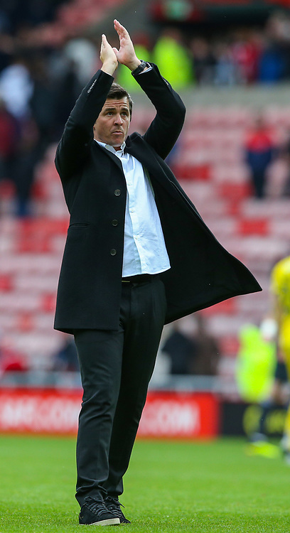 Fleetwood Town manager Joey Barton applauds the travelling Fleetwood Town fans after the match <br /> <br /> Photographer Alex Dodd/CameraSport<br /> <br /> The EFL Sky Bet League One - Sunderland v Fleetwood Town - Saturday September 8th 2018 - Stadium of Light - Sunderland<br /> <br /> World Copyright © 2018 CameraSport. All rights reserved. 43 Linden Ave. Countesthorpe. Leicester. England. LE8 5PG - Tel: +44 (0) 116 277 4147 - admin@camerasport.com - www.camerasport.com