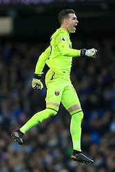 3rd December 2017 - Premier League - Manchester City v West Ham United - West Ham goalkeeper Adrian celebrates their opening goal - Photo: Simon Stacpoole / Offside.