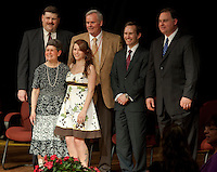 Peggy Selig, director of Laconia Adult Education and graduate Renee Kelley with Robert Dassatti, chairman Laconia School Board, Superintendent Robert Champlin, Mayor Michael Seymour and US Representative Frank Guinta following the Laconia Academy graduation ceremony held Friday evening at Laconia High School auditorium.  (Karen Bobotas/for the Laconia Daily Sun)Laconia Academy Graduation ceremonies at Laconia High School May 27, 2011.  Karen Bobotas/for the Laconia Daily Sun