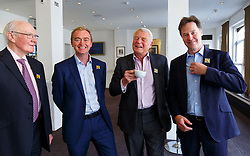 © Licensed to London News Pictures. 07/06/2016. London, UK. Former Liberal Democrat leaders MENZIES CAMPBELL, PADDY ASHDOWN and NICK CLEGG join current Liberal Democrat leader TIM FARRON at a Q&A session on EU referendum in central London on 7 June 2016. Photo credit: Tolga Akmen/LNP