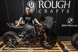 Winston Yeh of Rough Crafts in Taiwan with his custom MV Augusta at Motor Bike Expo. Verona, Italy. Sunday January 22, 2017. Photography ©2017 Michael Lichter.