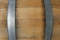 10 September 2006:  Wine Barrel closeup. Graphic background. Temecula, California.  Stock Photo