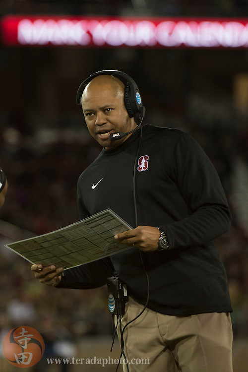 November 14, 2015; Stanford, CA, USA; Stanford Cardinal head coach David Shaw instructs during the first quarter against the Oregon Ducks at Stanford Stadium.