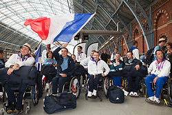 © under license to London News Pictures. 25/06/12..Eurostar send off the French Paralympic team as they depart London on a specially charted Eurostar train...ALEX CHRISTOFIDES/LNP