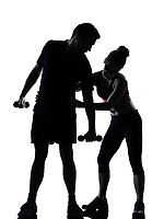 one couple man woman exercising workout aerobic fitness posture full length silhouette on studio isolated on white background