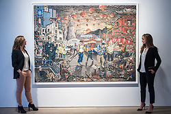 """© Licensed to London News Pictures. 22/04/2015. New Bond Street, London. Sotheby's staff members look at """"Leaving China - New Hope"""", one of the works unveiled by London-based artist Henry Hudson, using Plasticine as a medium.  The piece is part of the series entitled """"The Rise and Fall of Young Sen - The Contemporary Artist's Progress"""" at Sotheby's.  The series follows the plight of Young Sen, from his home in rural China, to his rise on the international art scene and his eventual demise embroiled in a world of drugs, vice and the darkest corners of global politics. Photo credit : Stephen Chung/LNP"""