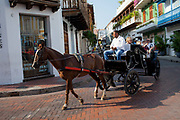 Colombian man driving horse and trap in Cartagena historic old city UNESCO World heritage site, capital of Bolivar department, Colombia.
