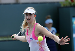 March 7, 2019 - Los Angeles, California, U.S - Mona Barthel of Germany, returns the ball to Lin Zhu of China, during the women singles first round match of the BNP Paribas Open tennis tournament on Thursday, March 7, 2019 in Indian Wells, California. Barthel  won 3-1. (Credit Image: © Ringo Chiu/ZUMA Wire)