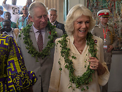 The Prince of Wales and Duchess of Cornwall, during a visit to the Jamestown Cafe in Accra, Ghana, on day four of their trip to west Africa.