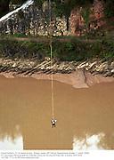 David Kirke's 21 St Anniversary  bungy jump off Clifton Suspension Bridge. 1 April 2000. <br /> <br />© Copyright Photograph by Dafydd Jones 66 Stockwell Park Rd. London SW9 0DA Tel 020 7733 0108 www.dafjones.com