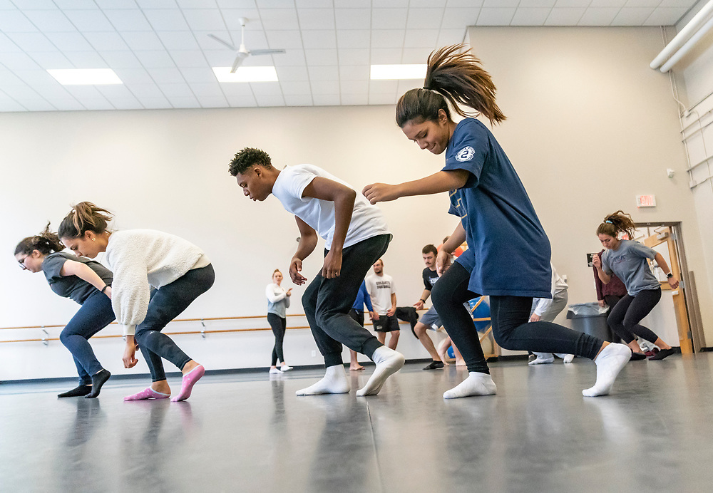 Assistant Professor Amy Swanson instructs Intro to Contemporary Dance in Huntington Gymnasium, October 29, 2019.