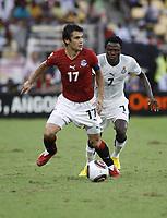 Fotball<br /> Afrikamesterskapet 2010<br /> Foto: imago/Digitalsport<br /> NORWAY ONLY<br /> <br /> 31.01.2010  <br /> Ahmed Hassan (L) and Samuel Inkoom - Ghana (white) Vs Egypt (red) 0:1 - African Cup of Nations Fina