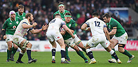 LONDON, ENGLAND - MARCH 17: Ireland's CJ Stander is tackled by England's Owen Farrell during the NatWest Six Nations Championship match between England and Ireland at Twickenham Stadium on March 17, 2018 in London, England. (Photo by Ashley Western - MB Media via Getty Images)