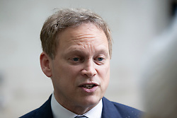 © Licensed to London News Pictures. 16/02/2020. London, UK. Secretary of State for Transport Grant Shapps speaks to the media as he departs the BBC after appearing on the Andrew Marr Show. Photo credit: George Cracknell Wright/LNP