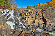 The Aux Sables River flows over the Precambrian Shield rock over a waterfall<br />Chutes Provincial Park<br />Ontario<br />Canada