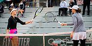 Marketa Vondrousova of the Czech Republic and Iga Swiatek of Poland in action during the first round at the Roland Garros 2020, Grand Slam tennis tournament, on September 28, 2020 at Roland Garros stadium in Paris, France - Photo Rob Prange / Spain ProSportsImages / DPPI / ProSportsImages / DPPI