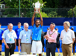 Dustin Brown of Germany lifts the trophy after winning the AEGON Manchester Trophy Mens Final against Yen-Hsun Lu of Chinese Taipei   - Mandatory by-line: Matt McNulty/JMP - 05/06/2016 - TENNIS - Northern Tennis Club - Manchester, United Kingdom - AEGON Manchester Trophy
