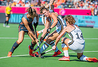 ANTWERPEN -  Marijn Veen (Ned) ) met Janne Müller-Wieland (Ger)  en Rebecca Grote (Ger)  tijdens  de   finale  dames  Nederland-Duitsland  (2-0) bij het Europees kampioenschap hockey.   COPYRIGHT  KOEN SUYK