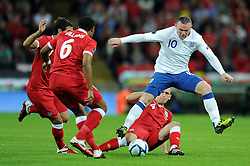 06.09.2011, Wembley Stadium, London, GBR, UEFA EURO 2012, Qualifikation, England vs Wales, im Bild Wales' Andrew Crofts and England's Wayne Rooney during the UEFA Euro 2012 Qualifying Group G match at Wembley Stadium on 6/9/2011. EXPA Pictures © 2011, PhotoCredit: EXPA/ Propaganda Photo/ Chris Brunskill +++++ ATTENTION - OUT OF ENGLAND/GBR+++++