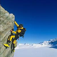 "Conrad Anker climbs on Peak 3950m (""Pyramid"") in Antarctica's Ellsworth Mountains."