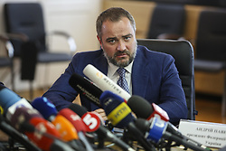 May 22, 2018 - Kiev, Ukraine - President of Football Federation of Ukraine Andriy Pavelko talks to media during the press conference in Kyiv, Ukraine, May 22, 2018. Ukrainian police in cooperation with Specialized Anti-Corruption Prosecutor's Office (SAPO) investigate the case on match-fixing by referees, FC's presidents and top management of National Football Federation. (Credit Image: © Sergii Kharchenko/NurPhoto via ZUMA Press)