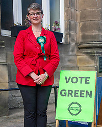 Pictured: Maggie Chapman, number one on the Scottish Greens list of EU candidates was up early to welcome voters at Portobello Town Hall.<br /><br />Ger Harley | EEm 23 May 2019