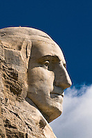 Face of President George Washington, Mount Rushmore National Memorial, Black Hills, South Dakota USA