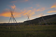 A tipi frame from a Nez Perce encampment at Big Hole National Battlefield, Montana. The tipi frames represent the Nez Perce home and families that were present when the U.S. Cavalry attacked at pre--dawn in 1877 killing many women and children. Nez Perce warriors put up a fierce resistance and held the Cavalry at bay for two days while their people re-grouped and retreated from the Big Hole Valley.