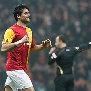 Galatasaray's Gokhan Zan celebrate his goal during their Turkish Super League soccer match Galatasaray between MKE Ankaragucu at the TT Arena at Seyrantepe in Istanbul Turkey on Wednesday, 25 January 2012. Photo by TURKPIX