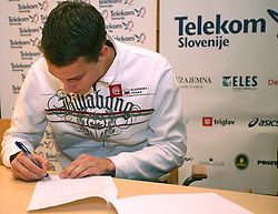 Rozle Prezelj when Athletic Federation of Slovenia (AZS) and top Slovenian athletes sign a contract of sponsorship, on February 14, 2008 in M-Hotel, Ljubljana, Slovenia. (Photo by Vid Ponikvar / Sportal Images)