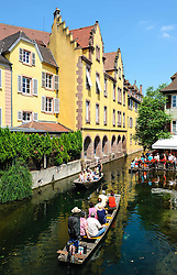 Tourists sightseeing in a punt in the area known as 'Little Venice' in Colmar, Alsace, France<br /> <br /> (c) Andrew Wilson | Edinburgh Elite media