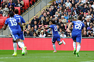 Chelsea's Willian (22) runs off to celebrate after he scores his teams 1st goal. The Emirates FA Cup semi-final match, Chelsea v Tottenham Hotspur at Wembley Stadium in London on Saturday 22nd April 2017.<br /> pic by Carl Robertson,  Andrew Orchard sports photography.