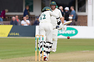 Hassan Azad flicks off his legs for 4 during the Specsavers County Champ Div 2 match between Leicestershire County Cricket Club and Northamptonshire County Cricket Club at the Fischer County Ground, Grace Road, Leicester, United Kingdom on 10 September 2019.