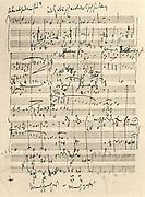 Johannes Brahms (1833-1897) German composer. Autograph of the score of the 'Alto Rhapsody'.