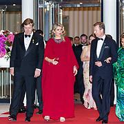 LUX/Luxemburg/20180524 - Staatsbezoek Luxemburg dag 2, Koning Willem Alexander en Koningin Maxima met Groothertog Henri en groothertogin Maria Teresa bij de contraprestatie