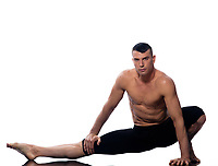 caucasian man gymnastic stretching warm up isolated studio on white background