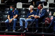 Mario Castelli, Guido Bagatta, Federico Casarin<br /> Happy Casa Brindisi - Banco di Sardegna Dinamo Sassari<br /> Discovery+ Supercoppa 2021 - Final Eight - Quarti di Finale<br /> LBA Legabasket Serie A UnipolSAI 2021/2022<br /> Bologna, 18/09/2021<br /> Foto L.Canu / Ciamillo-Castoria